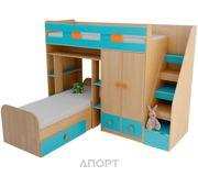 Фото UFOkids Кровать-чердак с двумя кроватями К019 80x200