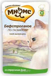 Фото МНЯМС Влажный корм для кошек Бефстроганов по-тасмански (страусиное филе) 0,085 кг