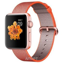 Apple Watch Series 2 42mm Rose Gold Aluminum Case with Space Orange/Anthracite Woven Nylon Band (MNPM2)