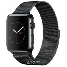 Apple Watch Series 2 42mm Space Black Stainless Steel Case with Space Black Milanese Loop (MNQ12)