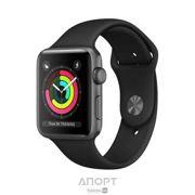 Фото Apple Watch Series 3 (GPS) 38mm Space Gray Aluminum w. Black Sport B. - Space Gray (MQKV2)